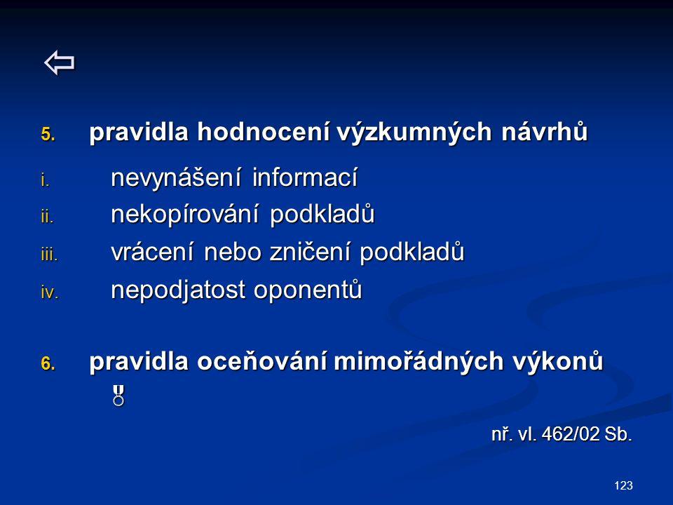 123  5. pravidla hodnocení výzkumných návrhů i. nevynášení informací ii. nekopírování podkladů iii. vrácení nebo zničení podkladů iv. nepodjatost opo