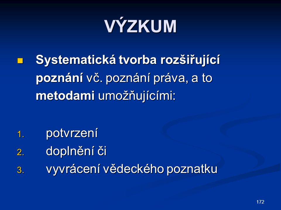 172 VÝZKUM Systematická tvorba rozšiřující poznání vč. poznání práva, a to metodami umožňujícími: Systematická tvorba rozšiřující poznání vč. poznání