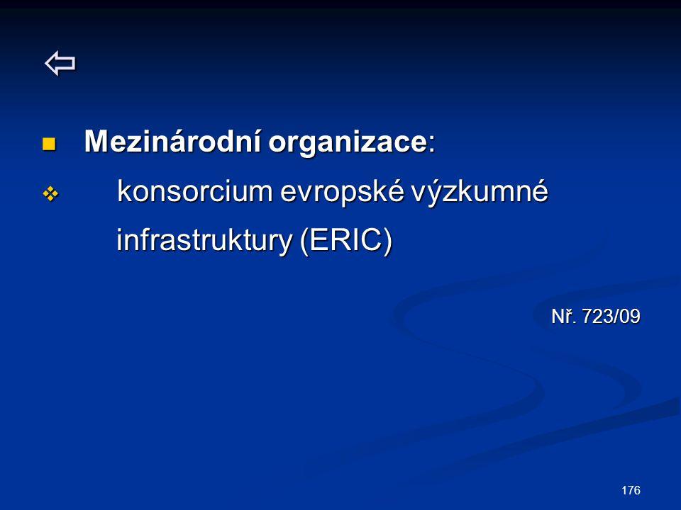 176  Mezinárodní organizace: Mezinárodní organizace:  konsorcium evropské výzkumné infrastruktury (ERIC) infrastruktury (ERIC) Nř. 723/09