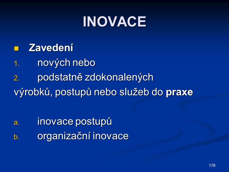 178 INOVACE Zavedení Zavedení 1. nových nebo 2. podstatně zdokonalených výrobků, postupů nebo služeb do praxe a. inovace postupů b. organizační inovac