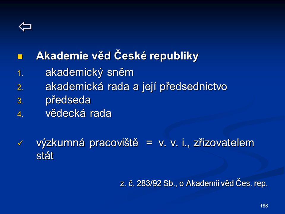 188  Akademie věd České republiky Akademie věd České republiky 1. akademický sněm 2. akademická rada a její předsednictvo 3. předseda 4. vědecká rada