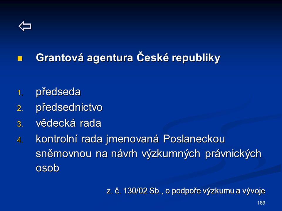 189  Grantová agentura České republiky Grantová agentura České republiky 1. předseda 2. předsednictvo 3. vědecká rada 4. kontrolní rada jmenovaná Pos