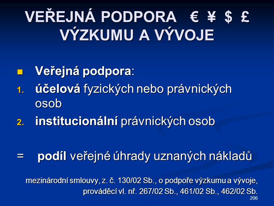 206 VEŘEJNÁ PODPORA € ¥ $ £ VÝZKUMU A VÝVOJE Veřejná podpora: Veřejná podpora: 1. účelová fyzických nebo právnických osob 2. institucionální právnický