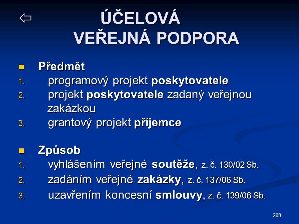 208  ÚČELOVÁ VEŘEJNÁ PODPORA Předmět Předmět 1. programový projekt poskytovatele 2. projekt poskytovatele zadaný veřejnou zakázkou zakázkou 3. granto