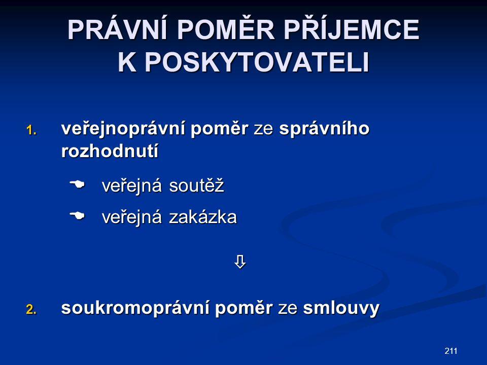 211 PRÁVNÍ POMĚR PŘÍJEMCE K POSKYTOVATELI 1. veřejnoprávní poměr ze správního rozhodnutí  veřejná soutěž  veřejná soutěž  veřejná zakázka  veřejná