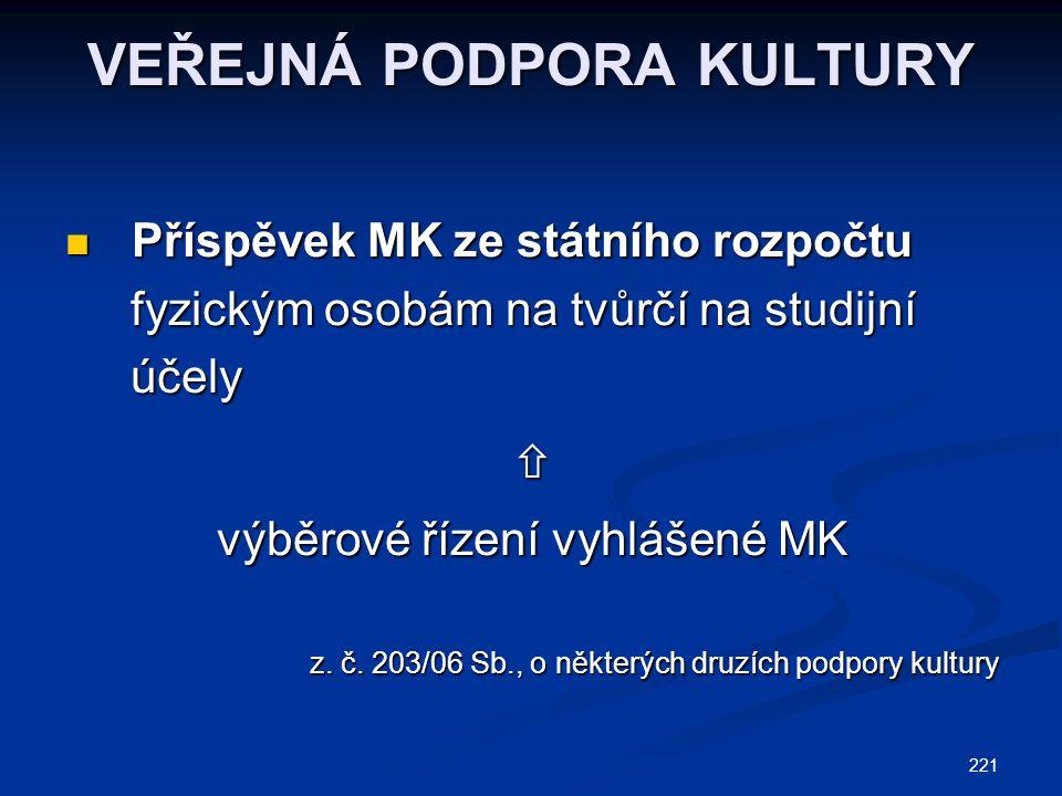 221 VEŘEJNÁ PODPORA KULTURY Příspěvek MK ze státního rozpočtu Příspěvek MK ze státního rozpočtu fyzickým osobám na tvůrčí na studijní fyzickým osobám
