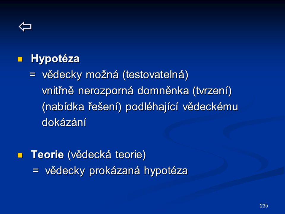 235  Hypotéza Hypotéza = vědecky možná (testovatelná) = vědecky možná (testovatelná) vnitřně nerozporná domněnka (tvrzení) vnitřně nerozporná domněnk