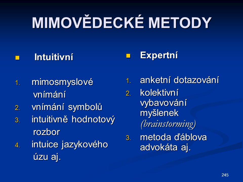 245 MIMOVĚDECKÉ METODY Intuitivní Intuitivní 1. mimosmyslové vnímání vnímání 2. vnímání symbolů 3. intuitivně hodnotový rozbor rozbor 4. intuice jazyk