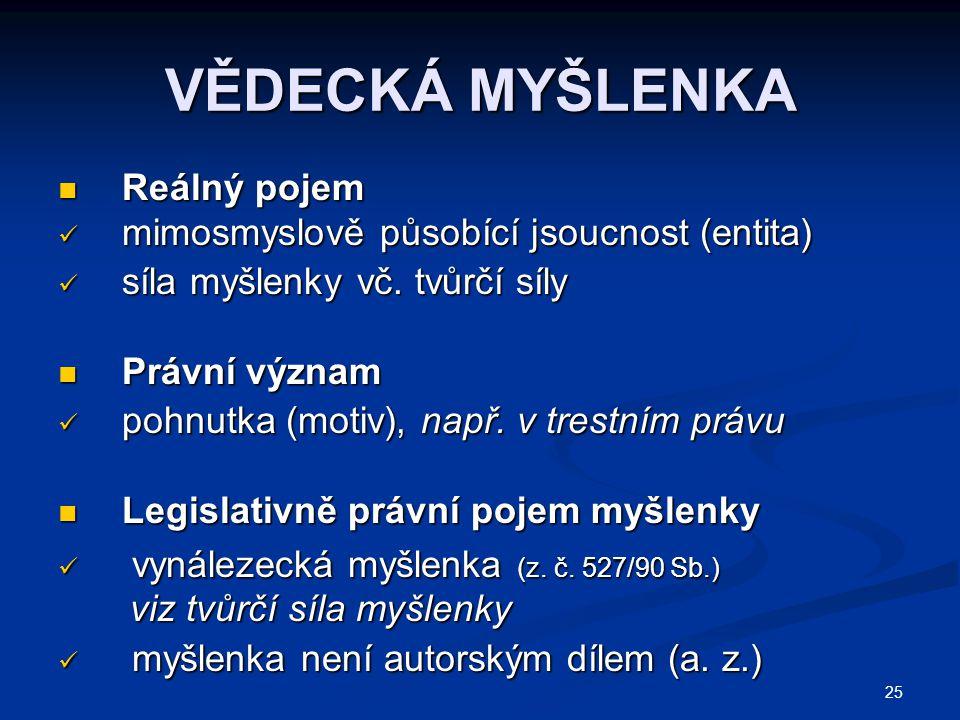 25 VĚDECKÁ MYŠLENKA Reálný pojem Reálný pojem mimosmyslově působící jsoucnost (entita) mimosmyslově působící jsoucnost (entita) síla myšlenky vč. tvůr