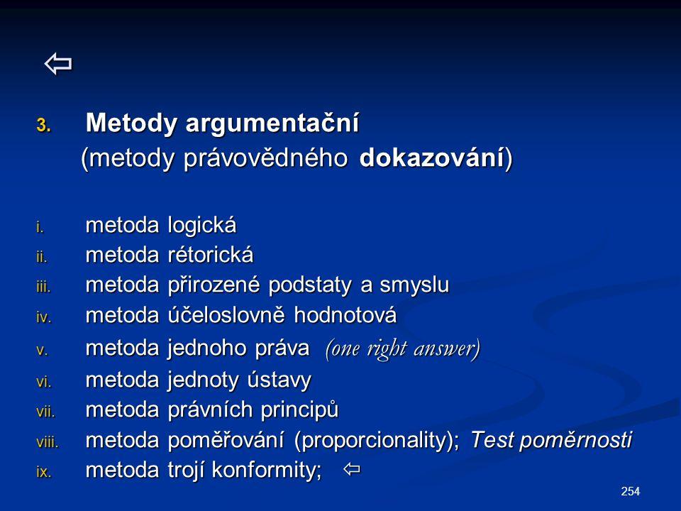 254  3. Metody argumentační (metody právovědného dokazování) (metody právovědného dokazování) i. metoda logická ii. metoda rétorická iii. metoda přir