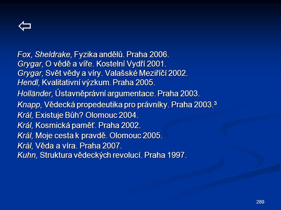 289  Fox, Sheldrake, Fyzika andělů. Praha 2006. Grygar, O vědě a víře. Kostelní Vydří 2001. Grygar, Svět vědy a víry. Valašské Meziříčí 2002. Hendl,
