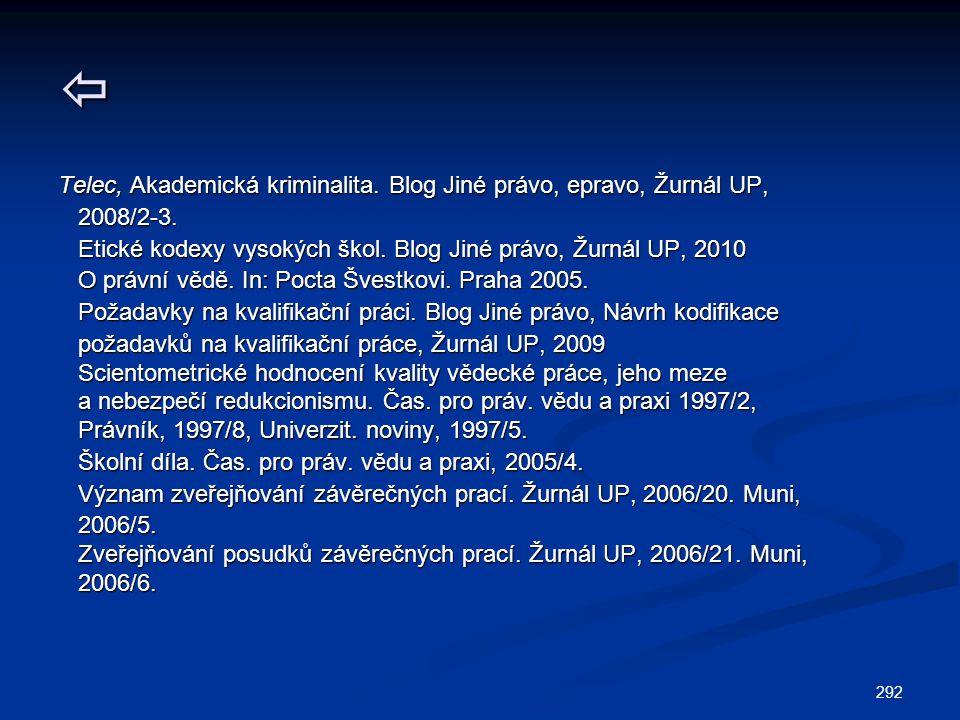 292  Telec, Akademická kriminalita. Blog Jiné právo, epravo, Žurnál UP, 2008/2-3. 2008/2-3. Etické kodexy vysokých škol. Blog Jiné právo, Žurnál UP,