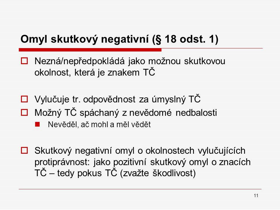 Omyl skutkový negativní (§ 18 odst. 1)  Nezná/nepředpokládá jako možnou skutkovou okolnost, která je znakem TČ  Vylučuje tr. odpovědnost za úmyslný