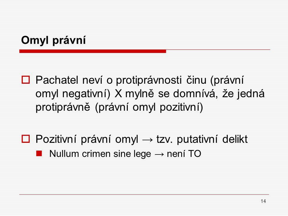 Omyl právní  Pachatel neví o protiprávnosti činu (právní omyl negativní) X mylně se domnívá, že jedná protiprávně (právní omyl pozitivní)  Pozitivní
