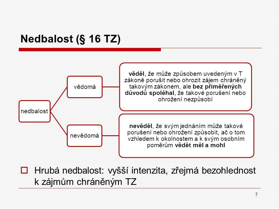 Nedbalost (§ 16 TZ)  Hrubá nedbalost: vyšší intenzita, zřejmá bezohlednost k zájmům chráněným TZ 7 nedbalostvědomá věděl, že může způsobem uvedeným v