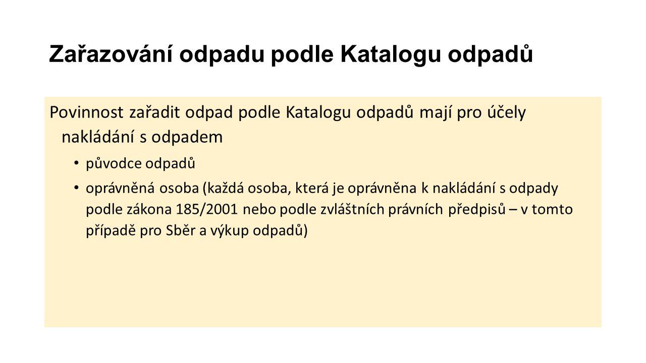 Zařazování odpadu podle Katalogu odpadů Katalog odpadů o vydalo MŽP vyhláškou č.