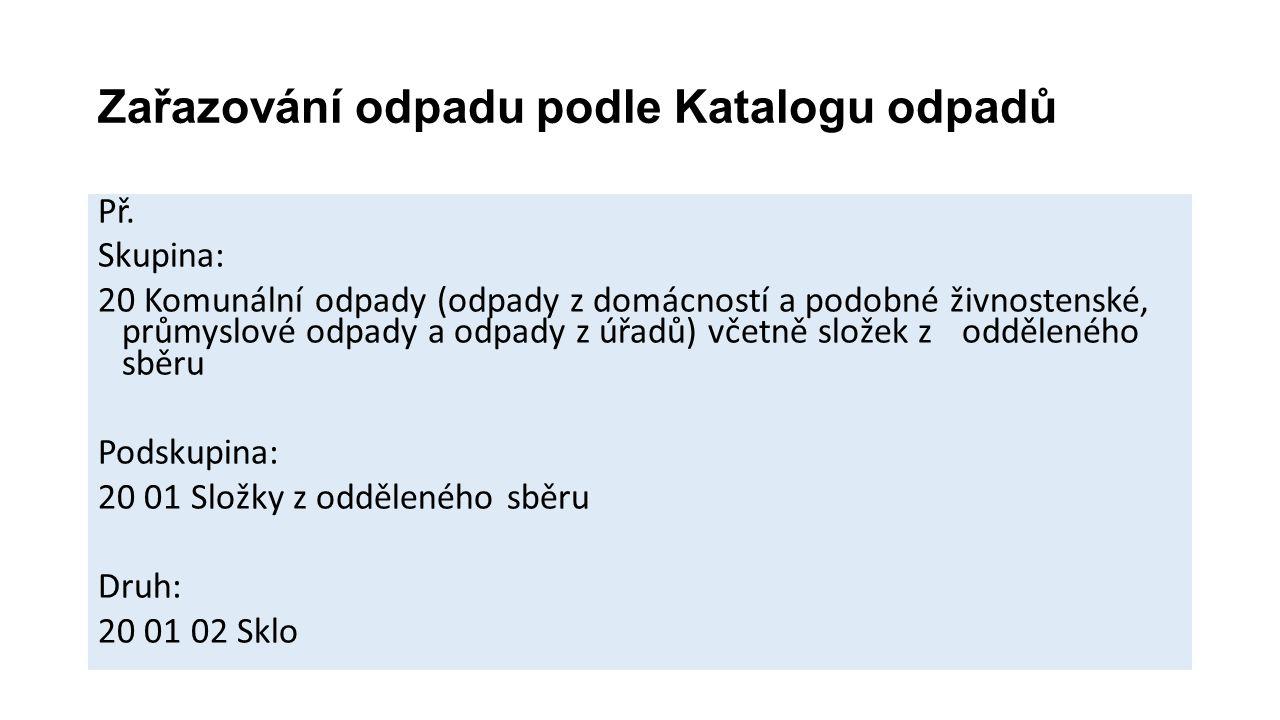 Zařazování odpadu podle Katalogu odpadů Př.