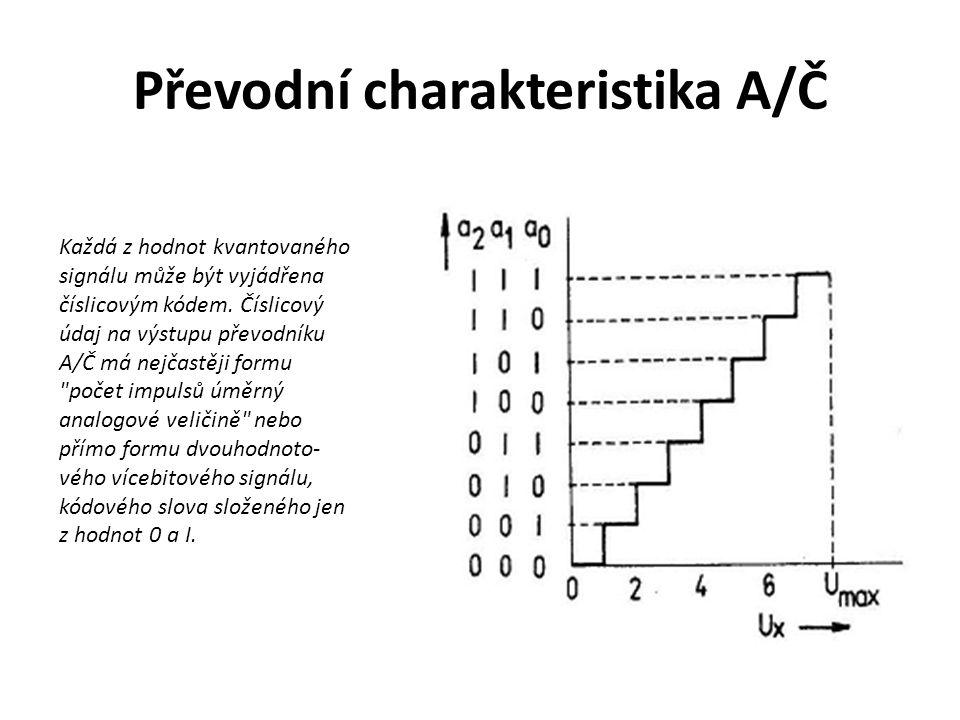 Převodní charakteristika A/Č Každá z hodnot kvantovaného signálu může být vyjádřena číslicovým kódem. Číslicový údaj na výstupu převodníku A/Č má nejč