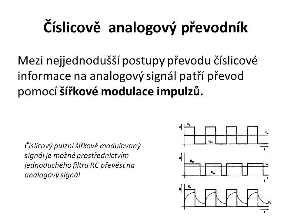 Číslicově analogový převodník Mezi nejjednodušší postupy převodu číslicové informace na analogový signál patří převod pomocí šířkové modulace impulzů.