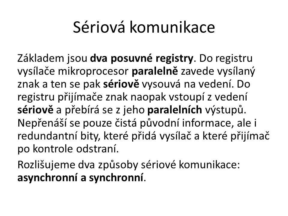 Sériová komunikace Základem jsou dva posuvné registry. Do registru vysílače mikroprocesor paralelně zavede vysílaný znak a ten se pak sériově vysouvá