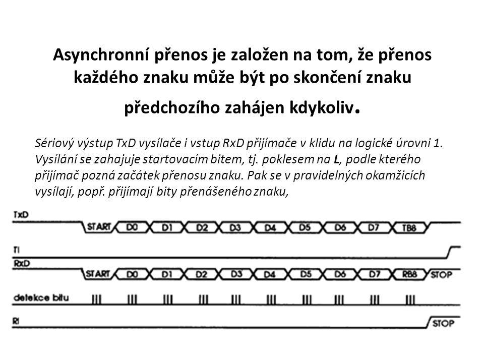 Asynchronní přenos je založen na tom, že přenos každého znaku může být po skončení znaku předchozího zahájen kdykoliv. Sériový výstup TxD vysílače i v