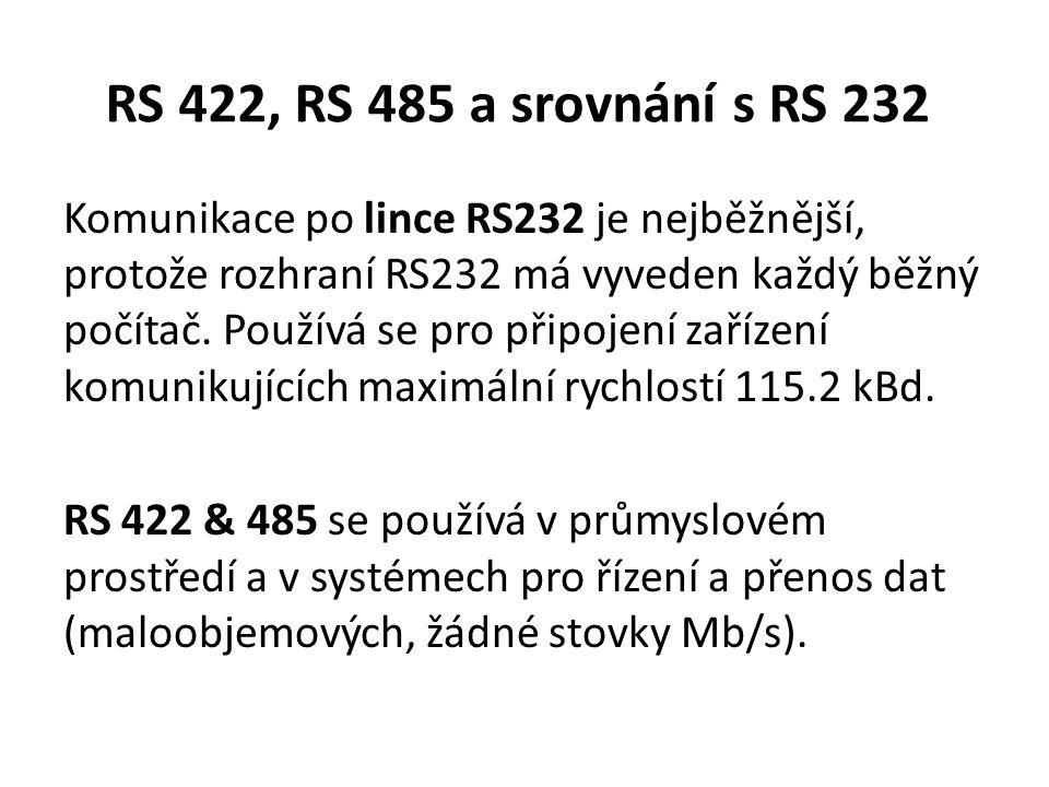 RS 422, RS 485 a srovnání s RS 232 Komunikace po lince RS232 je nejběžnější, protože rozhraní RS232 má vyveden každý běžný počítač. Používá se pro při