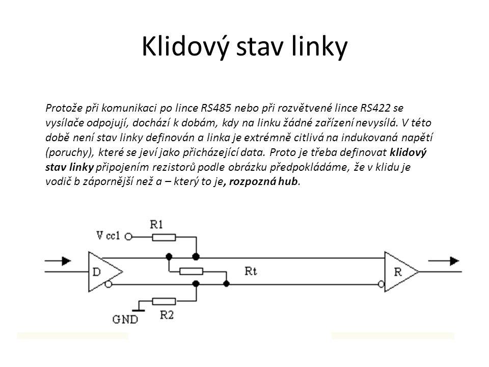 Klidový stav linky Protože při komunikaci po lince RS485 nebo při rozvětvené lince RS422 se vysílače odpojují, dochází k dobám, kdy na linku žádné zař