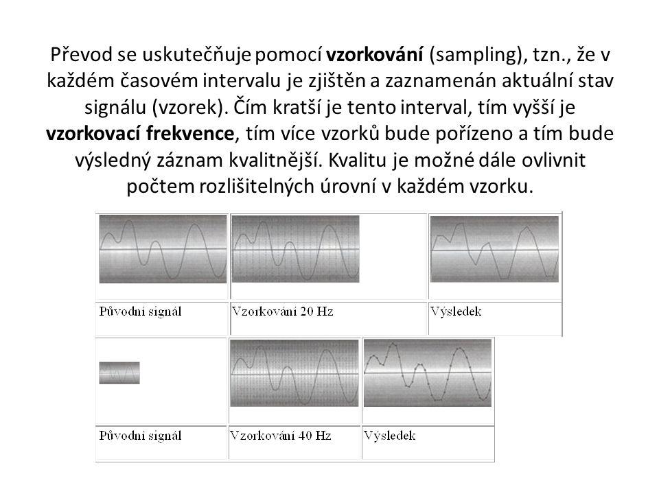 Převod se uskutečňuje pomocí vzorkování (sampling), tzn., že v každém časovém intervalu je zjištěn a zaznamenán aktuální stav signálu (vzorek). Čím kr