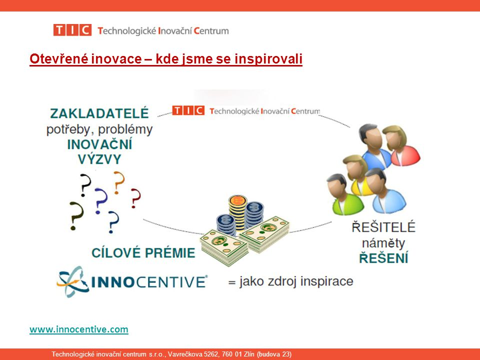 Technologické inovační centrum s.r.o., Vavrečkova 5262, 760 01 Zlín ( budova 23) Otevřené inovace – kde jsme se inspirovali www.innocentive.com