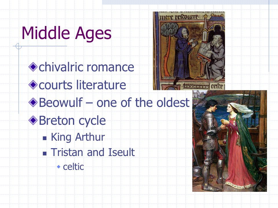 Middle Ages chivalric romance courts literature Beowulf – one of the oldest Breton cycle King Arthur Tristan and Iseult  celtic