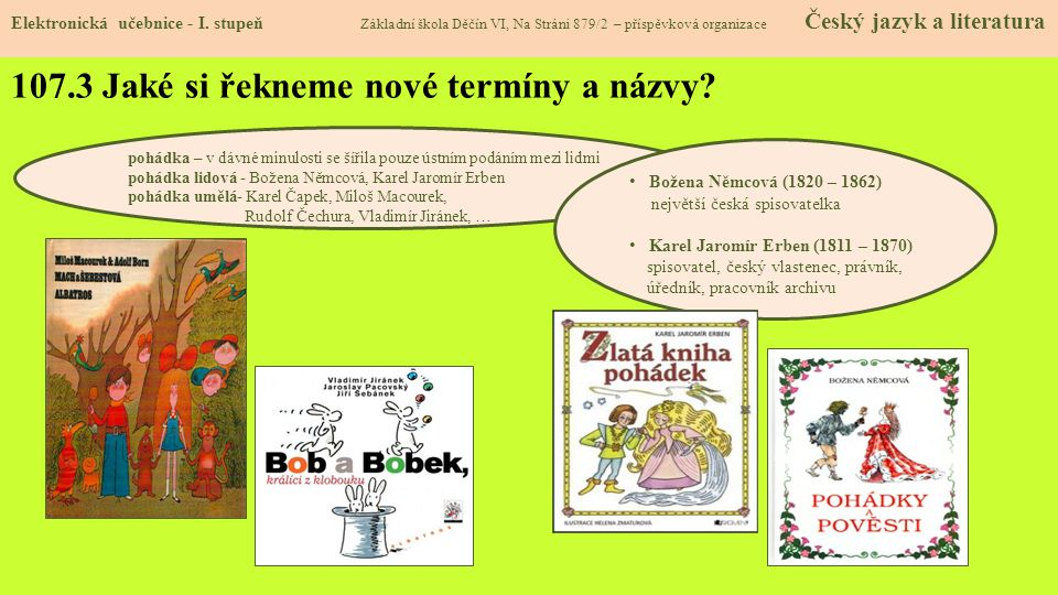 107.3 Jaké si řekneme nové termíny a názvy.Elektronická učebnice - I.