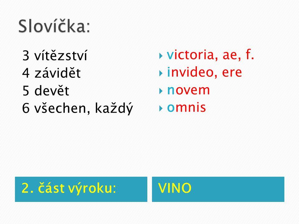 2. část výroku:VINO 3 vítězství 4 závidět 5 devět 6 všechen, každý  victoria, ae, f.  invideo, ere  novem  omnis