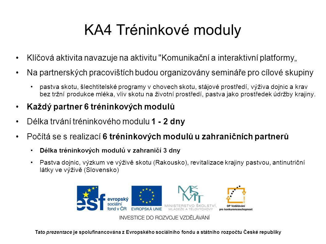 KA5 Odborná stáž na Slovenskej polnohospodárskej univerzite v Nitre Účelem stáží bude propojení výzkumných aktivit a zaškolení v programu environmentálního dopadu pastvy na životní prostředí a dále zaškolení v programu výživy přežvýkavců v měnících se ekonomických podmínkách Projekt předpokládá budoucí podávání společných výzkumných projektů a pořádání společných vzdělávacích seminářů Předpokládá se třítýdenní stáž čtyř pracovníků MENDELU nebo ostatních partnerů projektu Třítýdenní pobyt čtyř zahraničních expertů na MENDELU nebo u partnerů projektu (lektorská činnost, workshopy) Z vystoupení zahraničního experta bude pořízen videozáznam Tato prezentace je spolufinancována z Evropského sociálního fondu a státního rozpočtu České republiky