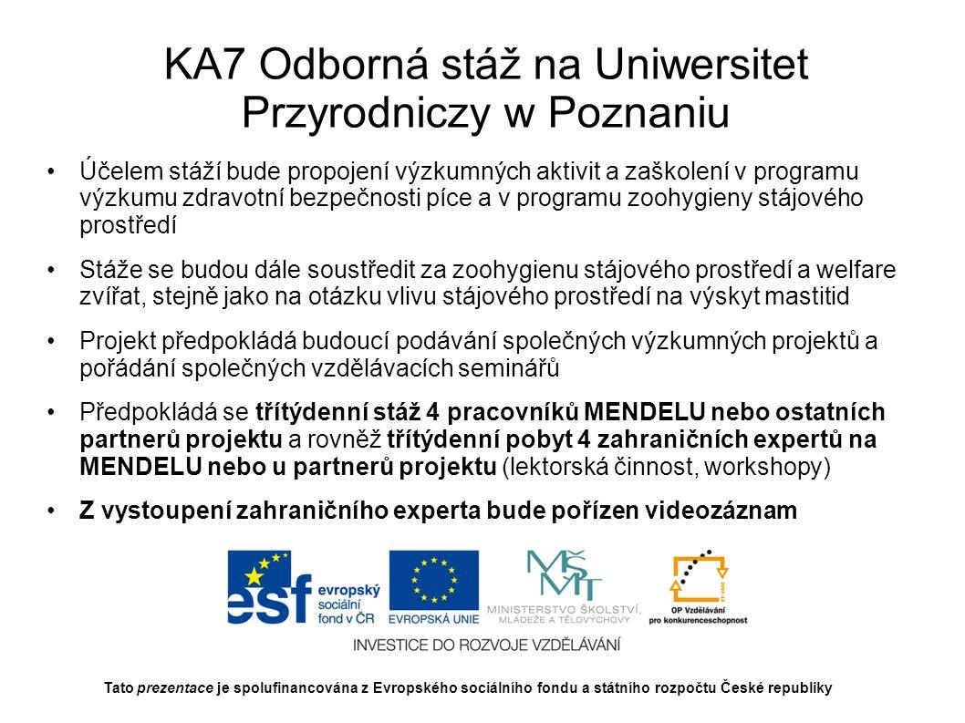 Cílová skupina Studenti vysokých škol (VUT a MENDELU) Akademičtí a ostatní odborní pracovníci vysokých škol (VUT a MENDELU) Další odborní pracovníci (IdeaHELP a CESTR) Náplň práce má vazbu na výzkumnou, vývojovou či vzdělávací činnost Tato prezentace je spolufinancována z Evropského sociálního fondu a státního rozpočtu České republiky