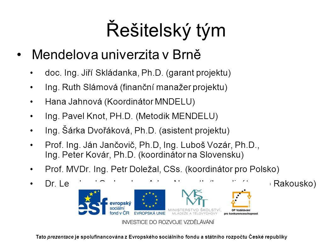 Řešitelský tým Mendelova univerzita v Brně Prof.Ing.