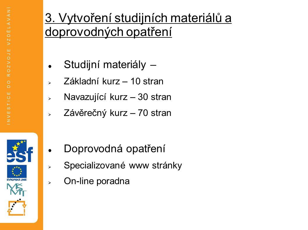3. Vytvoření studijních materiálů a doprovodných opatření Studijní materiály –  Základní kurz – 10 stran  Navazující kurz – 30 stran  Závěrečný kur