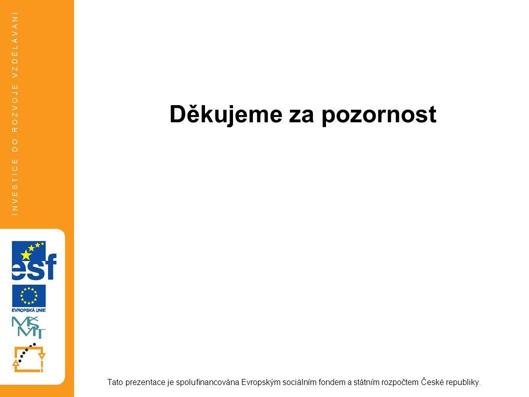 Děkujeme za pozornost Tato prezentace je spolufinancována Evropským sociálním fondem a státním rozpočtem České republiky.