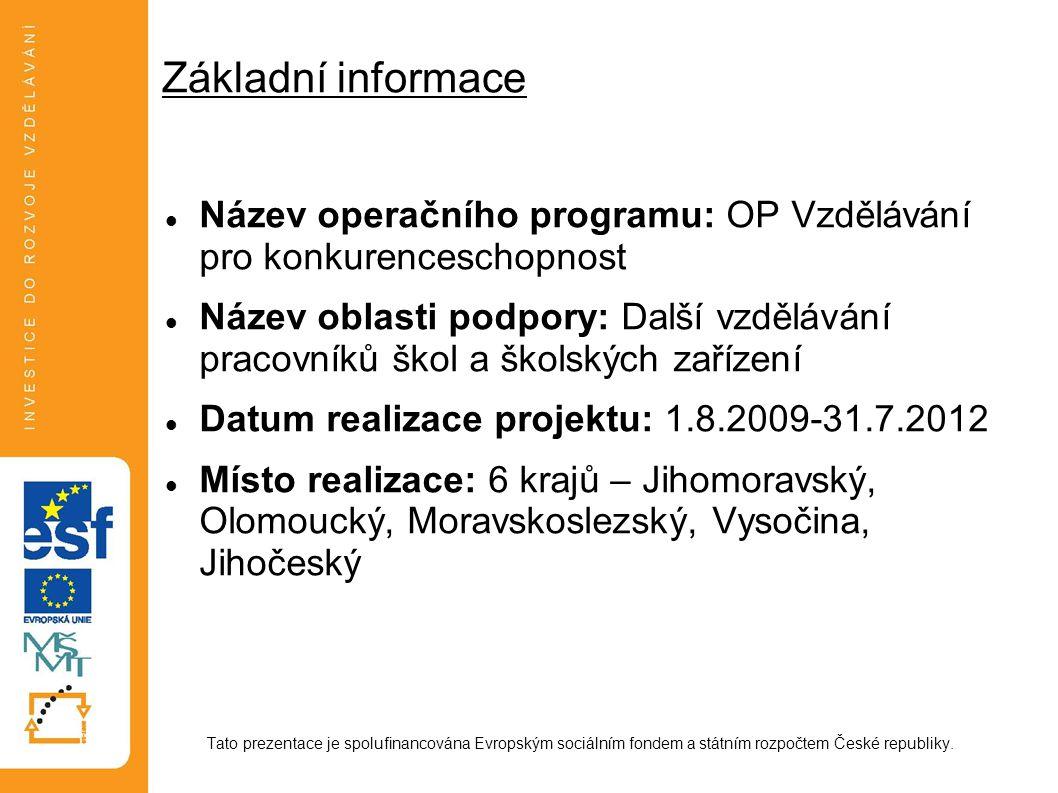 Základní informace Název operačního programu: OP Vzdělávání pro konkurenceschopnost Název oblasti podpory: Další vzdělávání pracovníků škol a školskýc