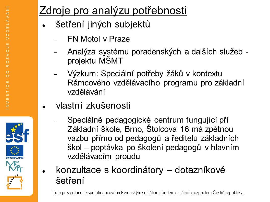 Zdroje pro analýzu potřebnosti šetření jiných subjektů  FN Motol v Praze  Analýza systému poradenských a dalších služeb - projektu MŠMT  Výzkum: Sp