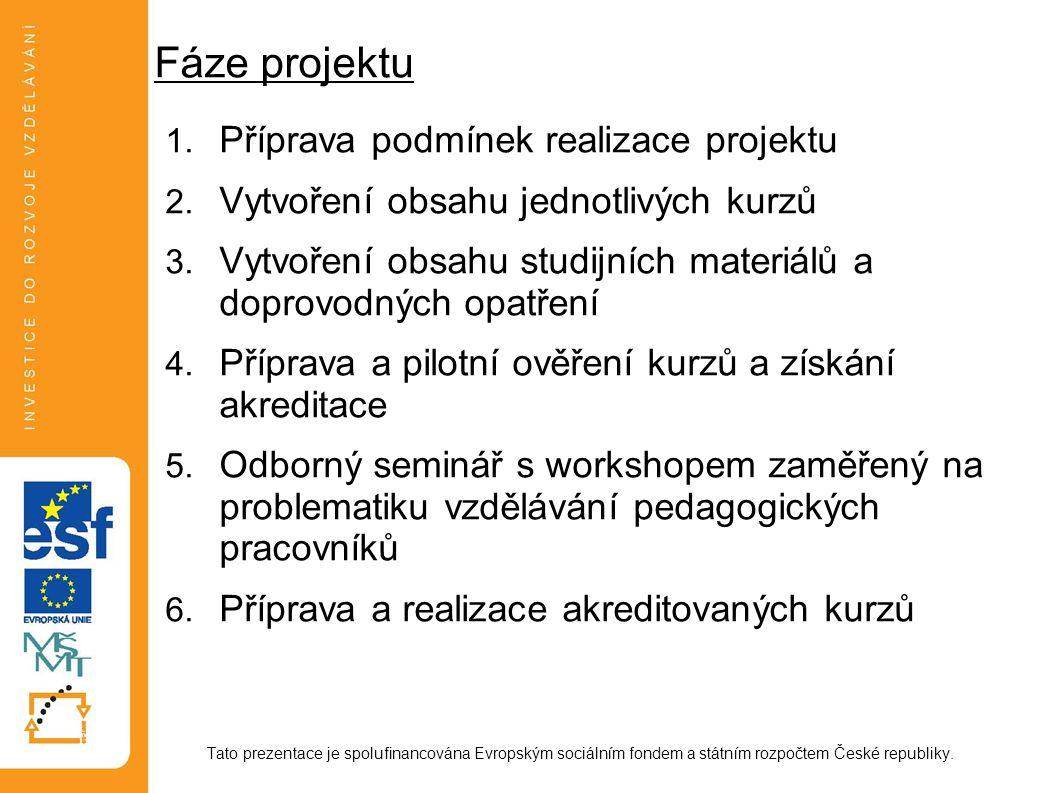 Fáze projektu 1. Příprava podmínek realizace projektu 2. Vytvoření obsahu jednotlivých kurzů 3. Vytvoření obsahu studijních materiálů a doprovodných o
