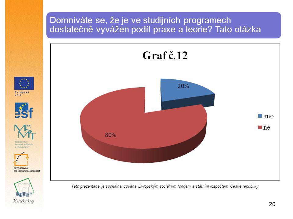 Domníváte se, že je ve studijních programech dostatečně vyvážen podíl praxe a teorie? Tato otázka Tato prezentace je spolufinancována Evropským sociál