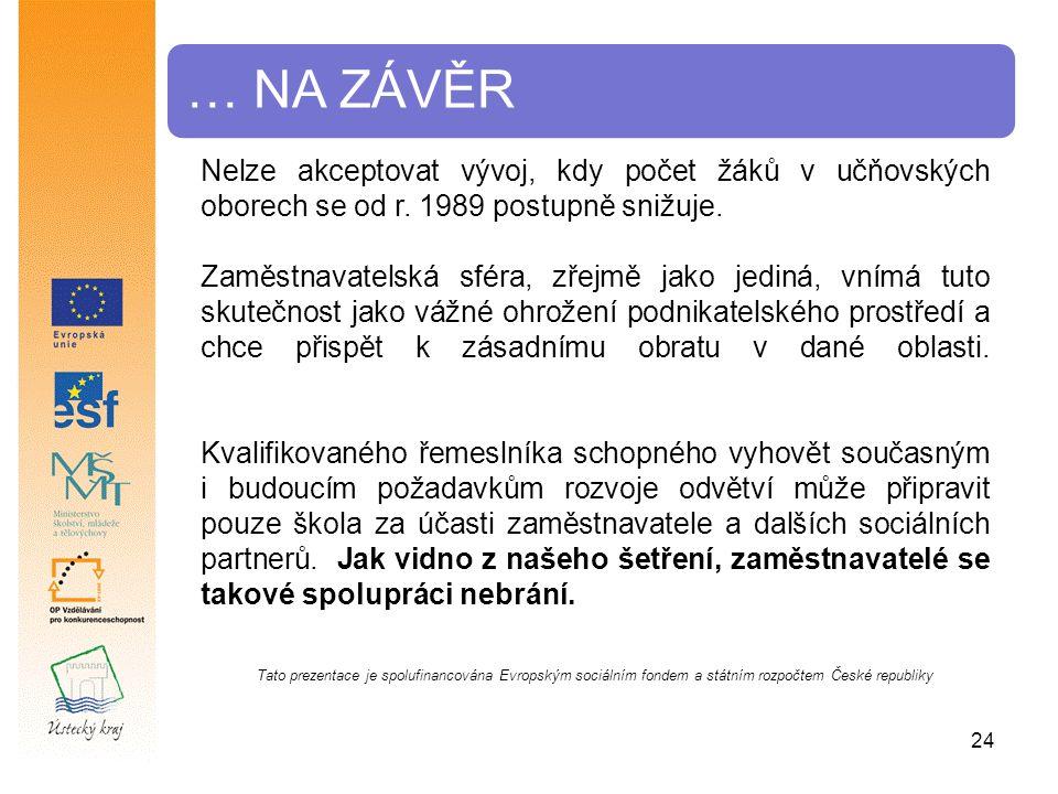 … NA ZÁVĚR Tato prezentace je spolufinancována Evropským sociálním fondem a státním rozpočtem České republiky Nelze akceptovat vývoj, kdy počet žáků v učňovských oborech se od r.