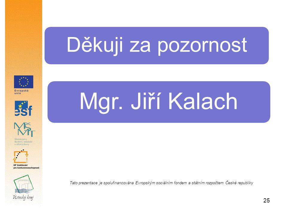 25 Děkuji za pozornost Mgr. Jiří Kalach Tato prezentace je spolufinancována Evropským sociálním fondem a státním rozpočtem České republiky