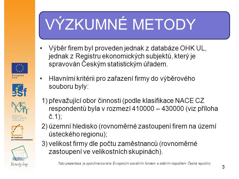 VÝZKUMNÉ METODY Výběr firem byl proveden jednak z databáze OHK UL, jednak z Registru ekonomických subjektů, který je spravován Českým statistickým úřa