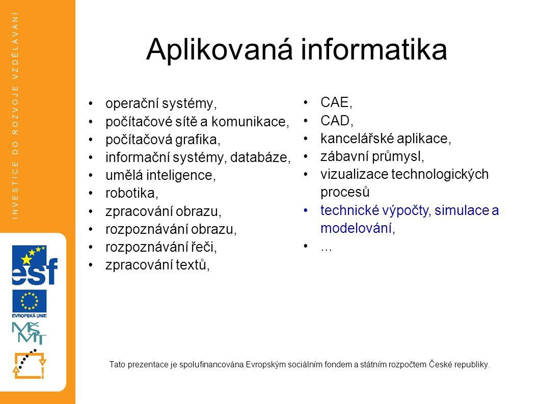 Aplikovaná informatika operační systémy, počítačové sítě a komunikace, počítačová grafika, informační systémy, databáze, umělá inteligence, robotika,