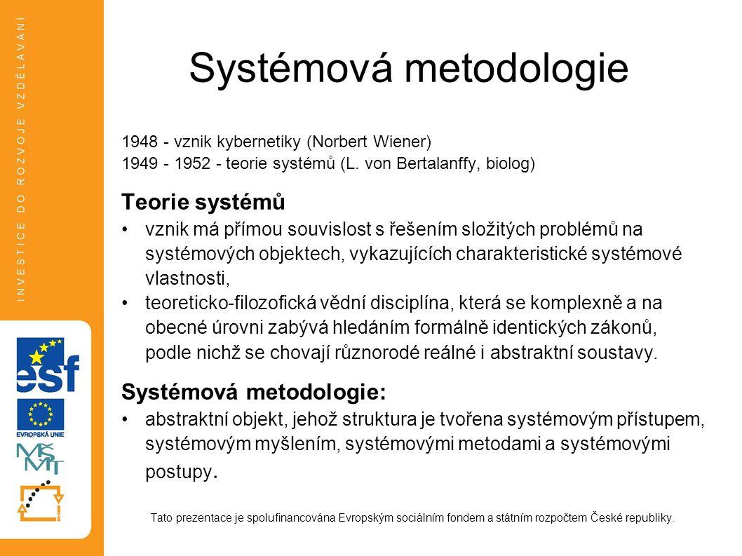 Systémová metodologie 1948 - vznik kybernetiky (Norbert Wiener) 1949 - 1952 - teorie systémů (L. von Bertalanffy, biolog) Teorie systémů vznik má přím