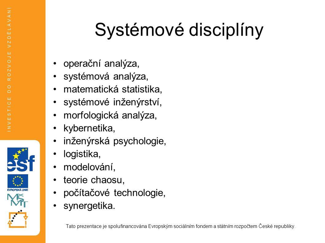 Systémové disciplíny operační analýza, systémová analýza, matematická statistika, systémové inženýrství, morfologická analýza, kybernetika, inženýrská