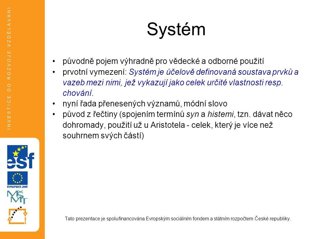 Systém původně pojem výhradně pro vědecké a odborné použití prvotní vymezení: Systém je účelově definovaná soustava prvků a vazeb mezi nimi, jež vykaz
