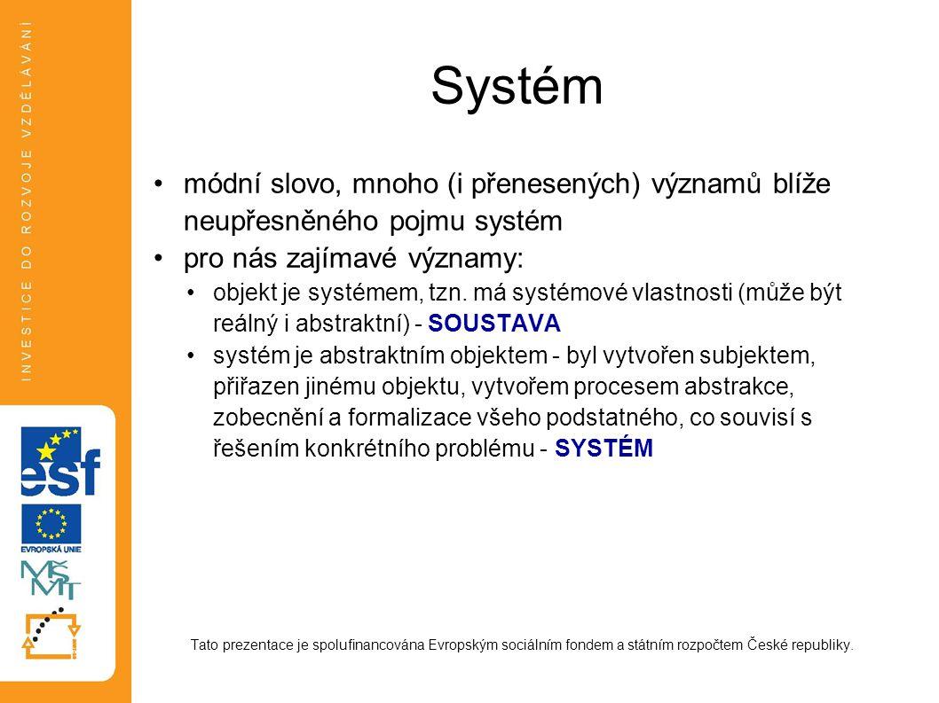 Systém módní slovo, mnoho (i přenesených) významů blíže neupřesněného pojmu systém pro nás zajímavé významy: objekt je systémem, tzn. má systémové vla