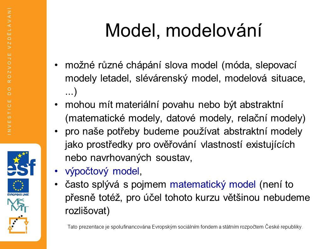 Model, modelování možné různé chápání slova model (móda, slepovací modely letadel, slévárenský model, modelová situace,...) mohou mít materiální povah